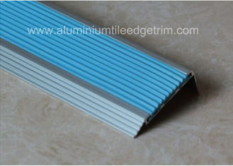 Non Slip Aluminum Stair Nosing , Metal Stair Nose Trim With Insert PVC Rubber